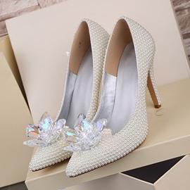 Ericdress White Pearl Wedding Shoes
