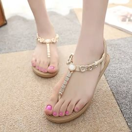 Chic Metal Decoration Flat Sandals
