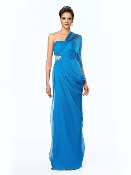 Ericdress Glamorous One-Shoulder Side-Split Appliques Long Evening Dress