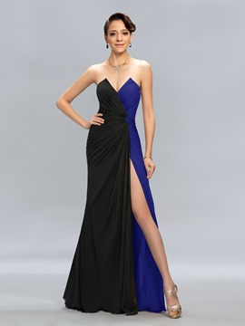 Ericdress Generous Color Block Side Split Long Evening Dress