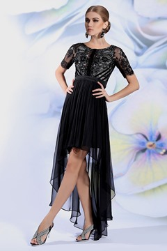 Ericdress Asymmetric Length Lace Black Evening Dress