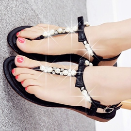 Fashion Pearl T-Strap Flat Sandals