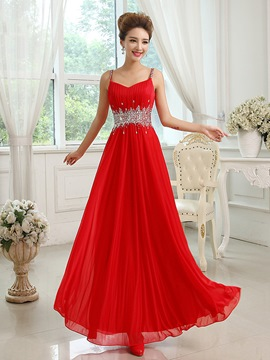 Ericdress Spaghetti Straps Beaded A-Line Long Prom Dress
