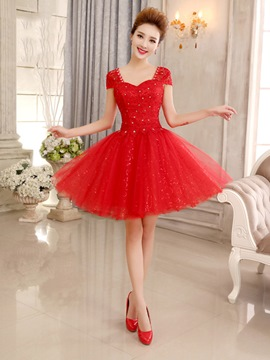 Ericdress A-Line Cap Sleeves Sequins Short Homecoming Dress