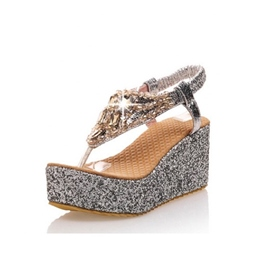 Glittering Sequins Thong Wedge Sandals