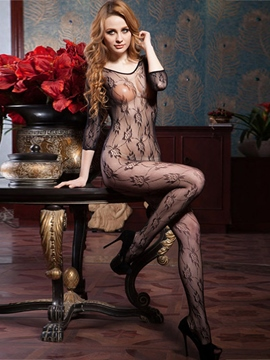 Ericdress Black Mesh Hollow Floral Women Stockings