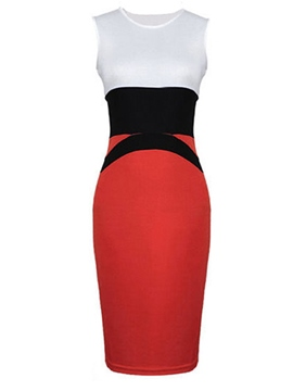 Ericdress Color Block Sleeveless Sheath Dress