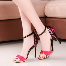Butterfly Decoration Ankle Strap Stiletto Sandals