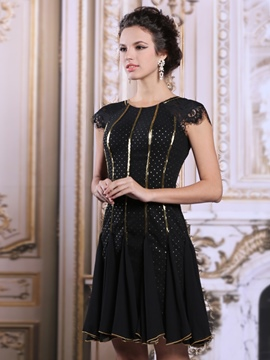 Ericdress Cap Sleeves Short Sequins Cocktail Dress