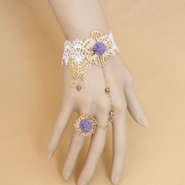 Ericdress Butterfly & Purple Flower Lace Ring Bracelet
