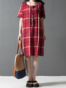 Ericdress Color Block Plaid Linen Dress