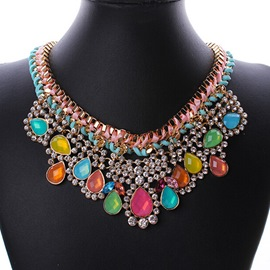 Colorful Crystal Decorated Lace Necklace