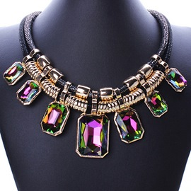 Unique Gradient Rhinestone Decorated Alloy Necklace