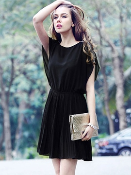 Ericdress Black Round Neck Pleated Casual Dress