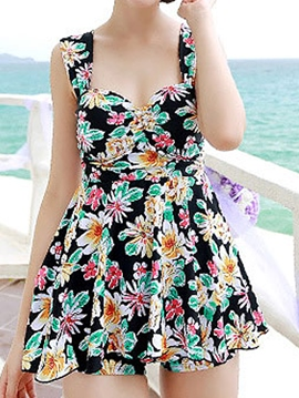 Ericdress Beautiful Pleated Floral Swimwear