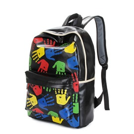 Ericdress Chic Colorful Handprint PU Backpacks