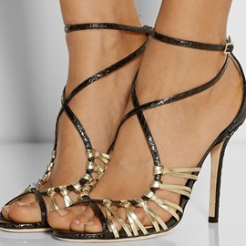 Unique Ankle Strap Peep-toe Stiletto Sandals
