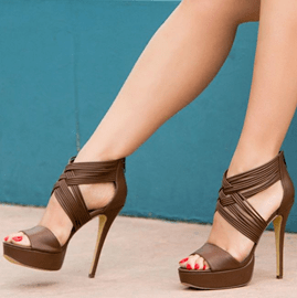 Chocolate Ankle Strap Stiletto Sandals