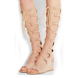 Pink Hollow-outs Knee High Wedge Sandals