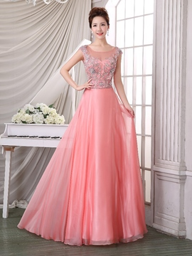 Ericdress Scoop Cap Sleeve Beaded Floor-Length Prom Dress
