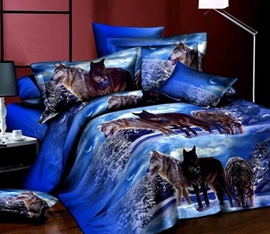 Ericdress Polar Wolf Print 4-Piece 3D Bedding Sets