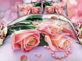 Ericdress Romantic Pink Rose & Pearl Print 4-Piece 3D Bedding Sets