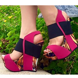 Ericdress Rose Patchwork Wedge Sandals