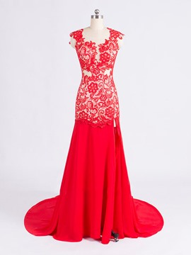 Ericdress Court Train Open Back Lace Long Evening Dress