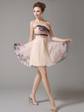 Ericdress Sweetheart Pleats Printed A-Line Zipper-up Mini Homecoming Dress