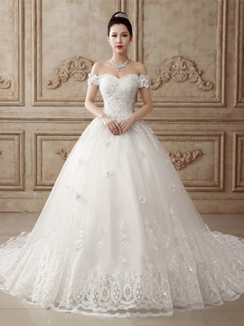 Ericdress Elegant Off the Shoulder Appliques Chapel Train Wedding Dress
