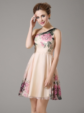 Ericdress A-Line Print One-Shoulder Short Homecoming/Sweet 16 Dress