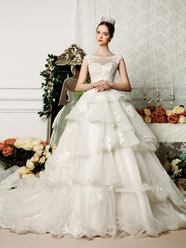 Ericdress Modest Sheer Neck Appliques Ball Gown Wedding Dress