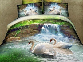 Ericdress Beautiful Scenery Swan Lake Print 4-Piece 3D Bedding Sets
