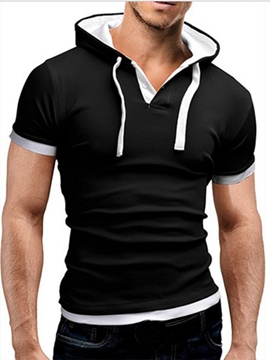 Ericdress Color Block Hooded Short Sleeve Men's Hoodie
