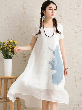 Ericdress Loose Linen Short Sleeve Casual Dress
