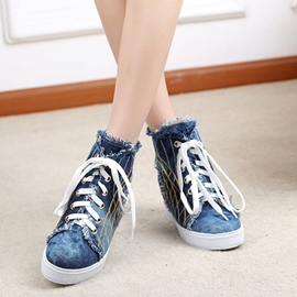 Unique Denim Lace-up Flats