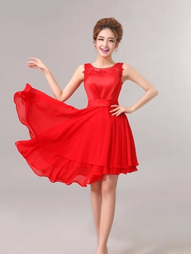 Ericdress Comely Appliques Asymmetry A Line Scoop Bridesmaid Dress