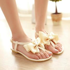 Candy Color Thong Flat Sandals with Bowknot