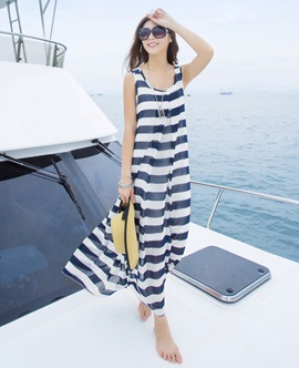Ericdress Sleeveless Stripe Maxi Dress