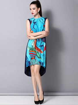 Ericdress Asymmetrical-Length Print Party Dress