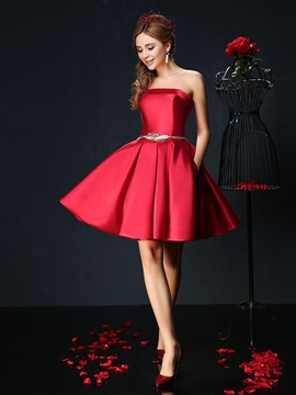 Ericdress Concise A-Line Strapless Short Cocktail Dress