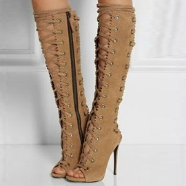 Fashion Peep-toe Stiletto Heel Knee High Boots