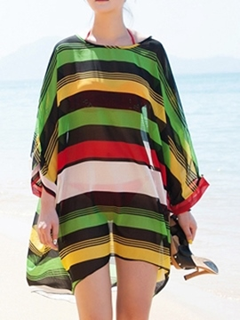 Ericdress Stripe Round Neck Chiffon Cover-Up