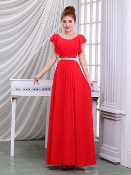 Ericdress Cap Sleeves Lace Beaded Long Evening Dress