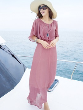 Ericdress Pink Chiffon Maxi Dress
