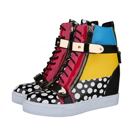 Patchwork Lace-up Flats with Zipper