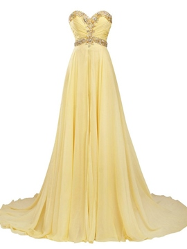 Ericdress Sweetheart Beaded Ruches Long Evening Dress