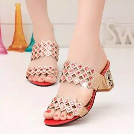 Shining Rhinestone Square Heel Women's Slippers
