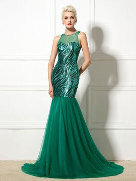 Ericdress Jewel Neck Lace-Up Sequins Long Mermaid Evening Dress