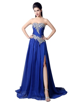 Ericdress Sweetheart Beaded Ruches Side-Split Long Evening Dress